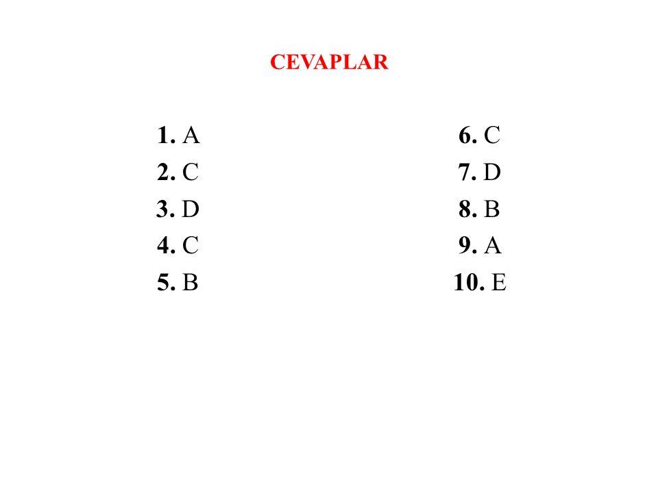 CEVAPLAR 1. A 2. C 3. D 4. C 5. B 6. C 7. D 8. B 9. A 10. E