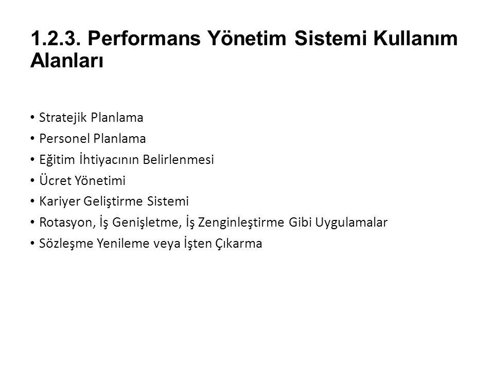 1.2.3. Performans Yönetim Sistemi Kullanım Alanları