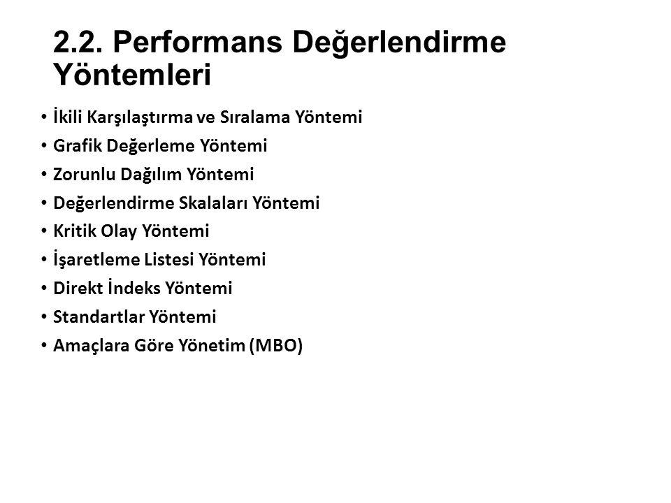 2.2. Performans Değerlendirme Yöntemleri