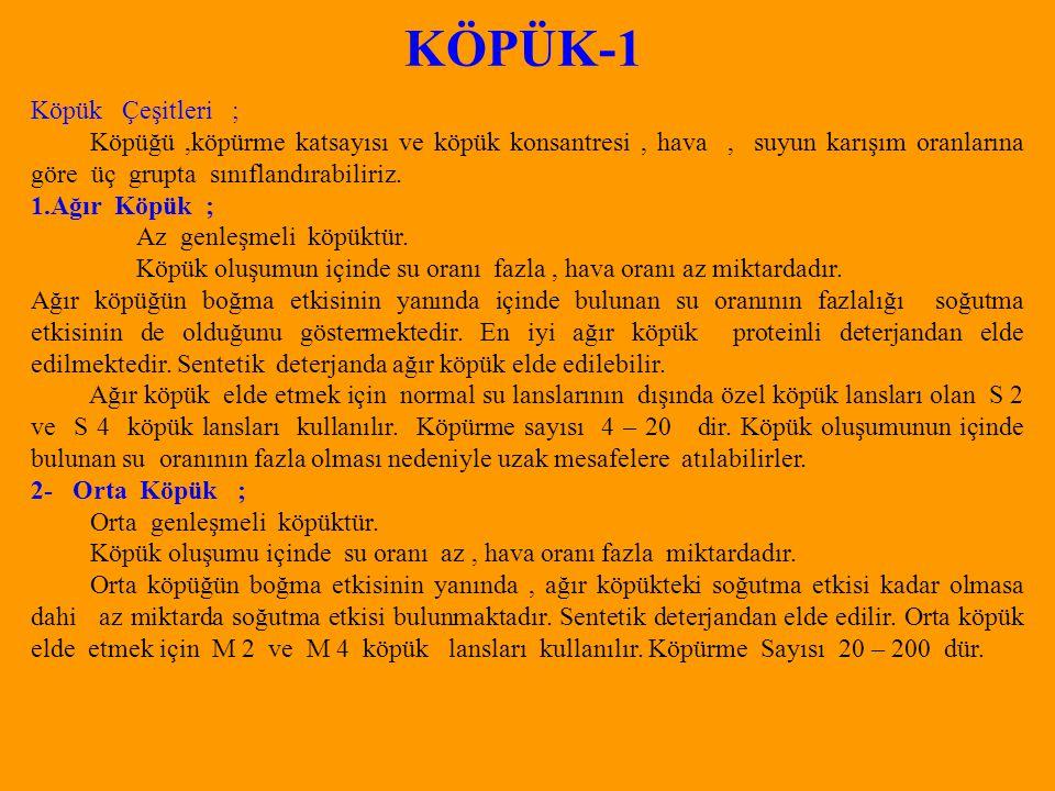 KÖPÜK-1 Köpük Çeşitleri ;