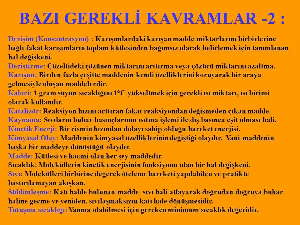BAZI GEREKLİ KAVRAMLAR -2 :