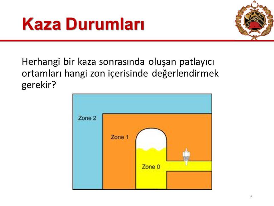 Kaza Durumları Herhangi bir kaza sonrasında oluşan patlayıcı ortamları hangi zon içerisinde değerlendirmek gerekir