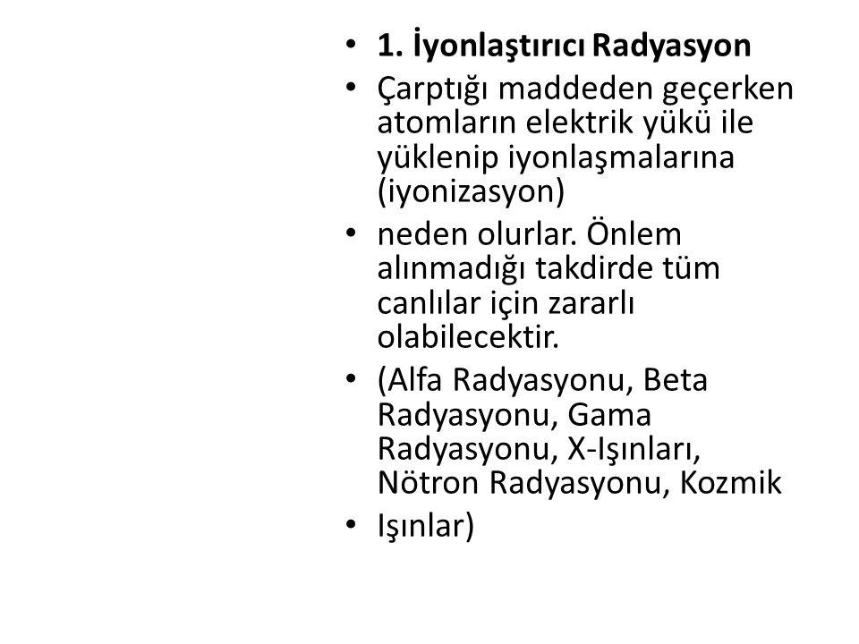 1. İyonlaştırıcı Radyasyon