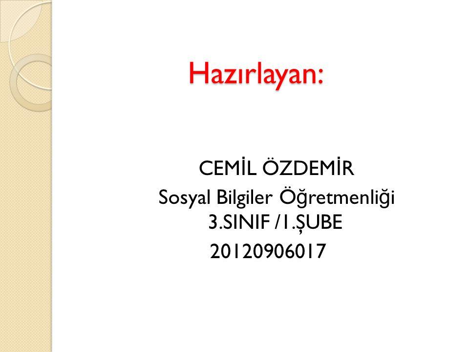 CEMİL ÖZDEMİR Sosyal Bilgiler Öğretmenliği 3.SINIF /1.ŞUBE 20120906017