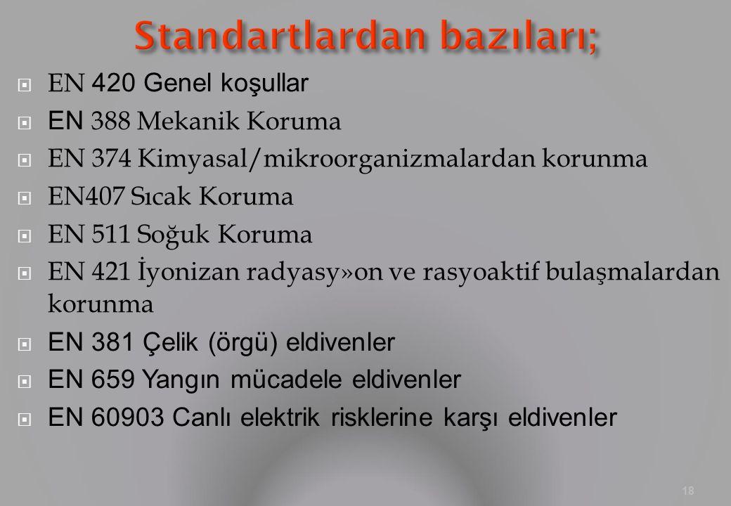 Standartlardan bazıları;