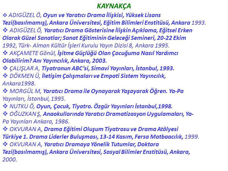 KAYNAKÇA ADIGÜZEL Ö, Oyun ve Yaratıcı Drama İlişkisi, Yüksek Lisans. Tezi(basılmamış), Ankara Üniversitesi, Eğitim Bilimleri Enstitüsü, Ankara 1993.