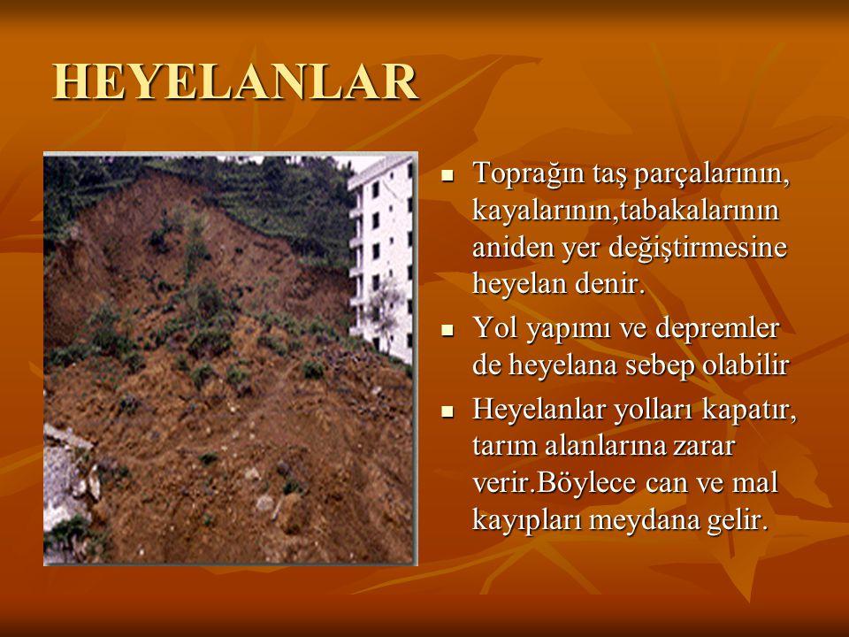 HEYELANLAR Toprağın taş parçalarının, kayalarının,tabakalarının aniden yer değiştirmesine heyelan denir.