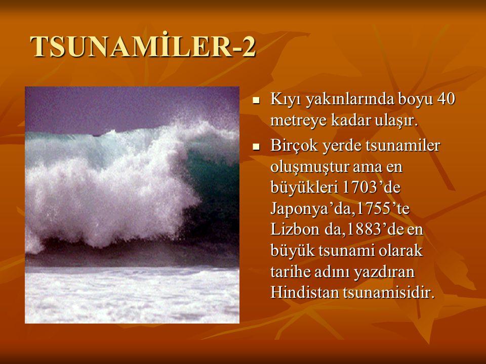 TSUNAMİLER-2 Kıyı yakınlarında boyu 40 metreye kadar ulaşır.