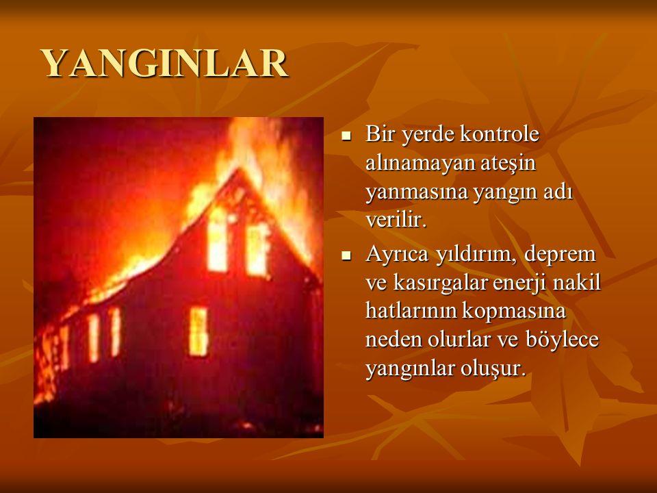 YANGINLAR Bir yerde kontrole alınamayan ateşin yanmasına yangın adı verilir.