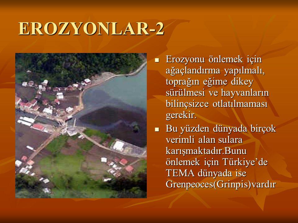 EROZYONLAR-2 Erozyonu önlemek için ağaçlandırma yapılmalı, toprağın eğime dikey sürülmesi ve hayvanların bilinçsizce otlatılmaması gerekir.