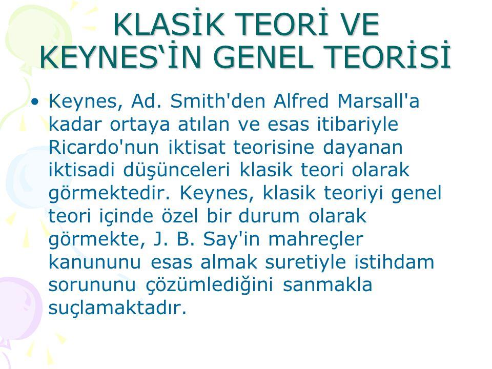 KLASİK TEORİ VE KEYNES'İN GENEL TEORİSİ