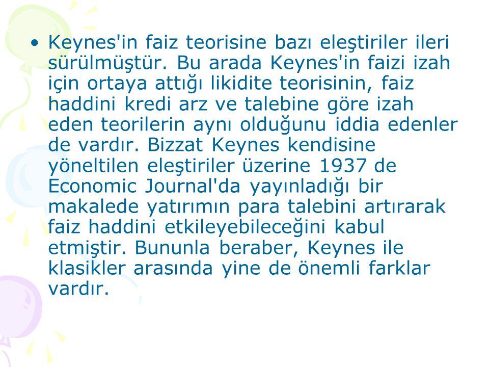 Keynes in faiz teorisine bazı eleştiriler ileri sürülmüştür