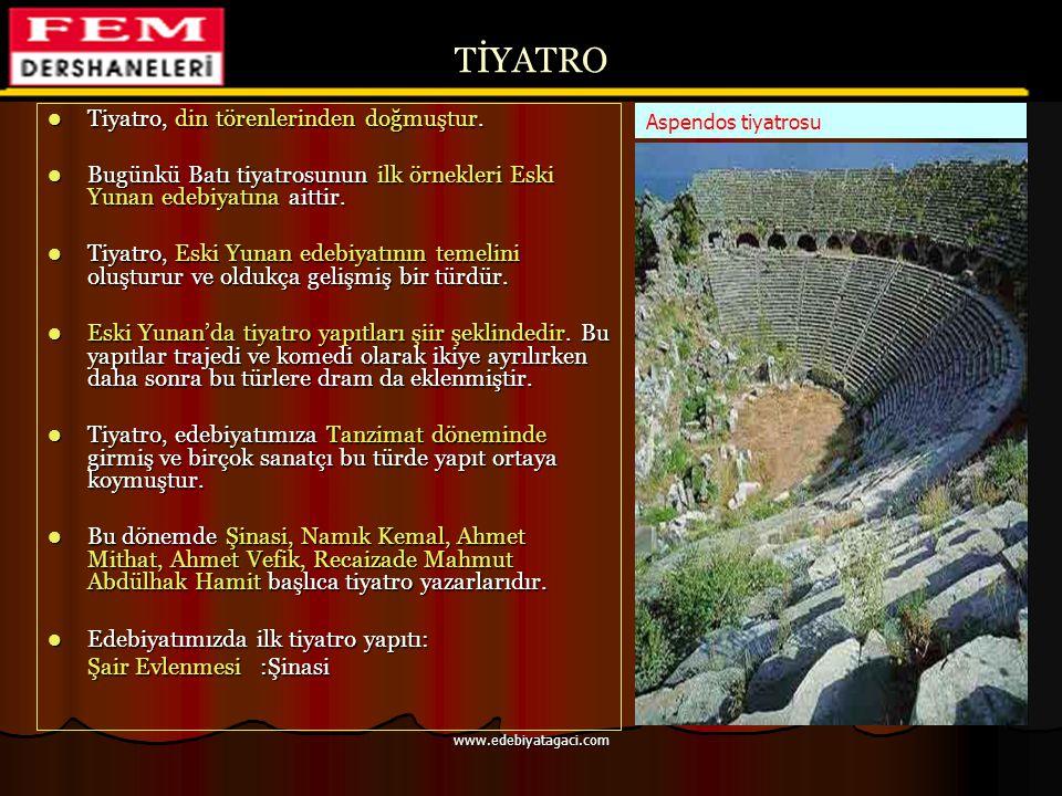 TİYATRO Tiyatro, din törenlerinden doğmuştur.