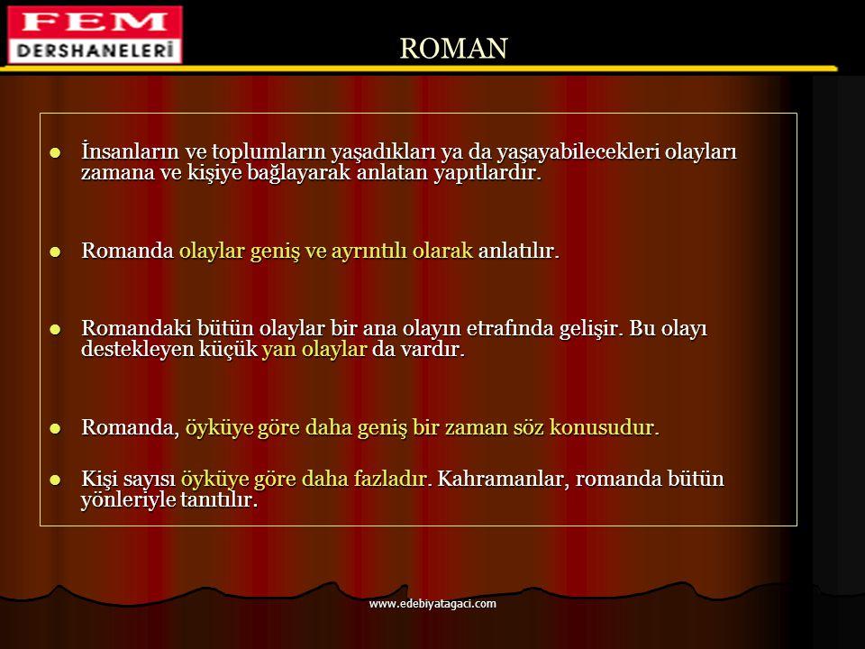 ROMAN İnsanların ve toplumların yaşadıkları ya da yaşayabilecekleri olayları zamana ve kişiye bağlayarak anlatan yapıtlardır.
