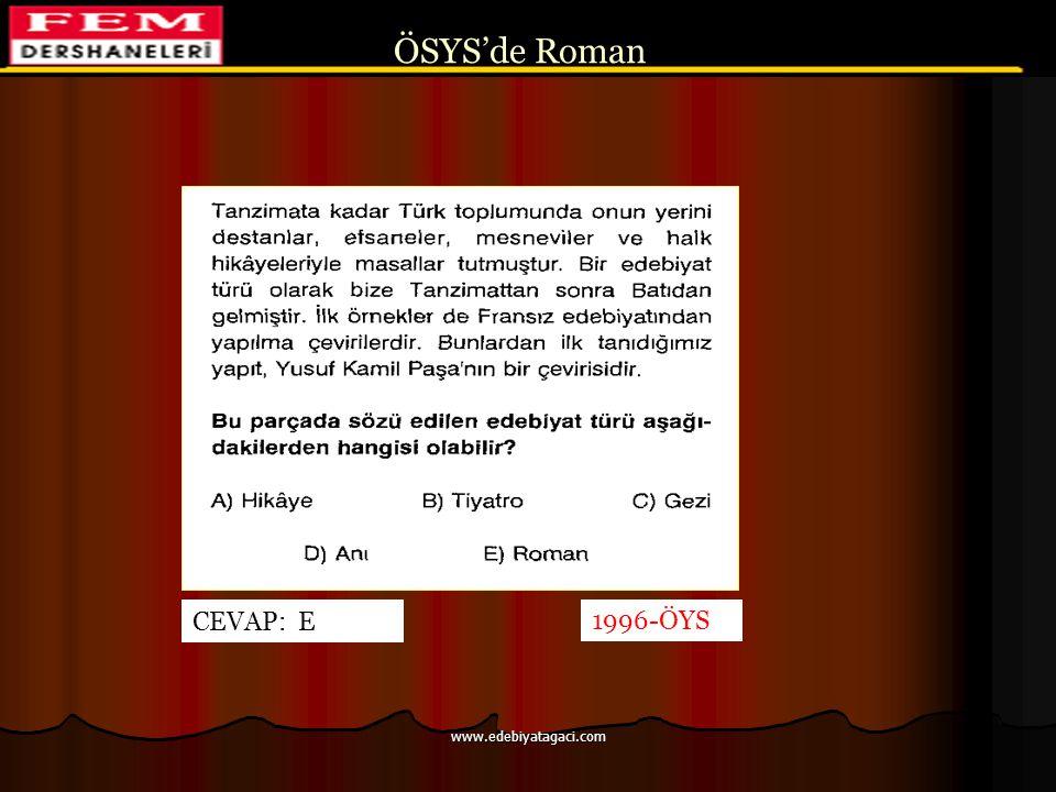 ÖSYS'de Roman CEVAP: E 1996-ÖYS www.edebiyatagaci.com