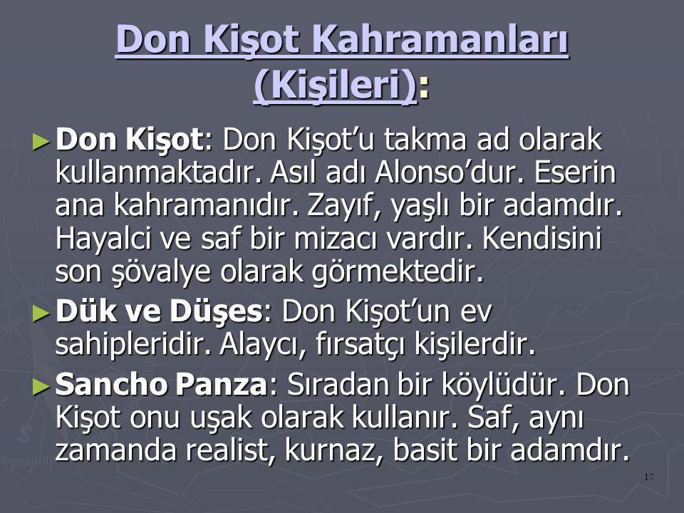 Don Kişot Kahramanları (Kişileri):