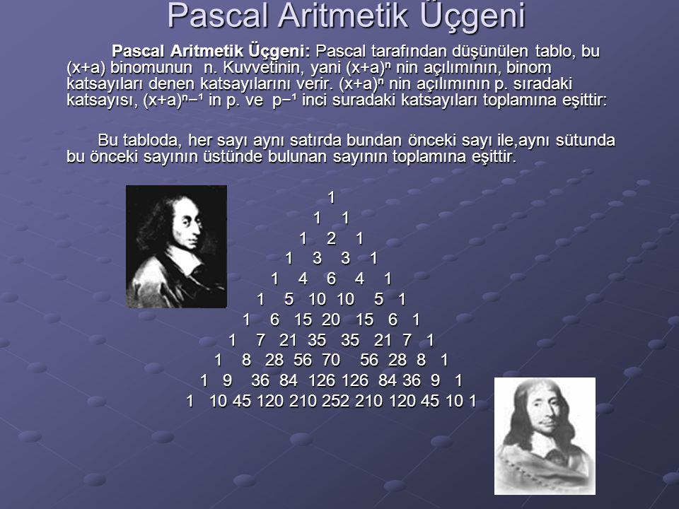Pascal Aritmetik Üçgeni