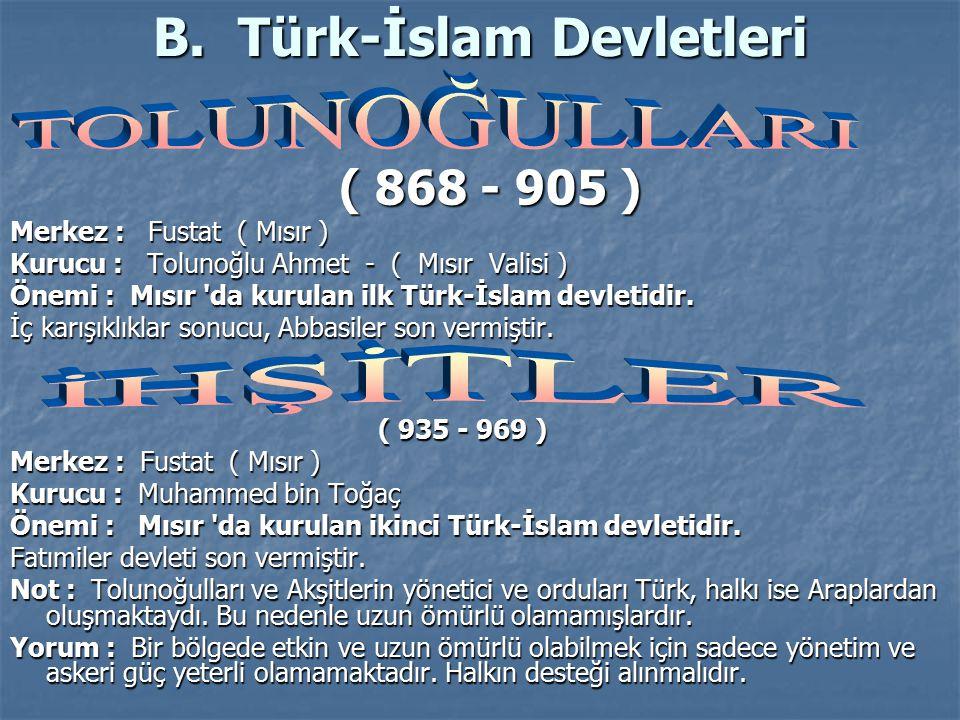 B. Türk-İslam Devletleri
