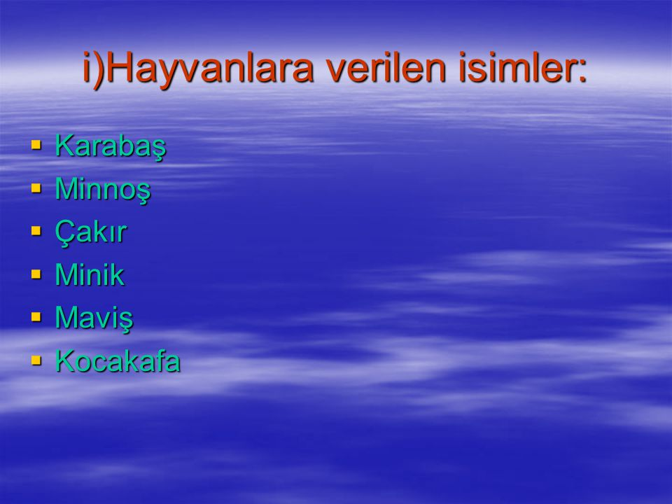 i)Hayvanlara verilen isimler:
