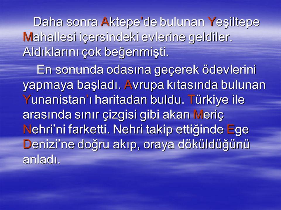 Daha sonra Aktepe'de bulunan Yeşiltepe Mahallesi içersindeki evlerine geldiler. Aldıklarını çok beğenmişti.