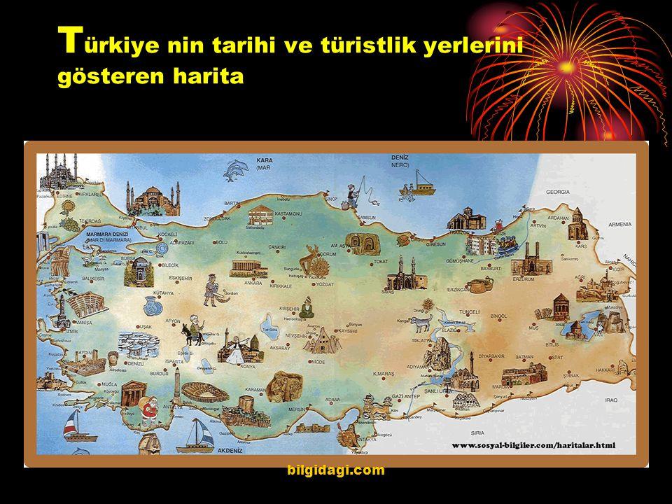 Türkiye nin tarihi ve türistlik yerlerini gösteren harita