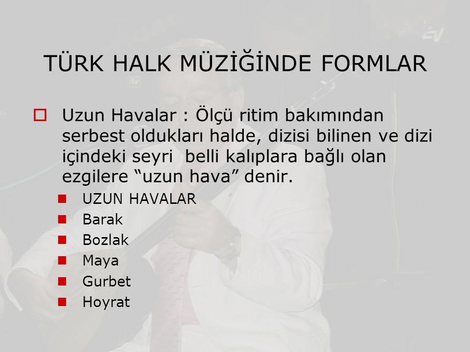 TÜRK HALK MÜZİĞİNDE FORMLAR