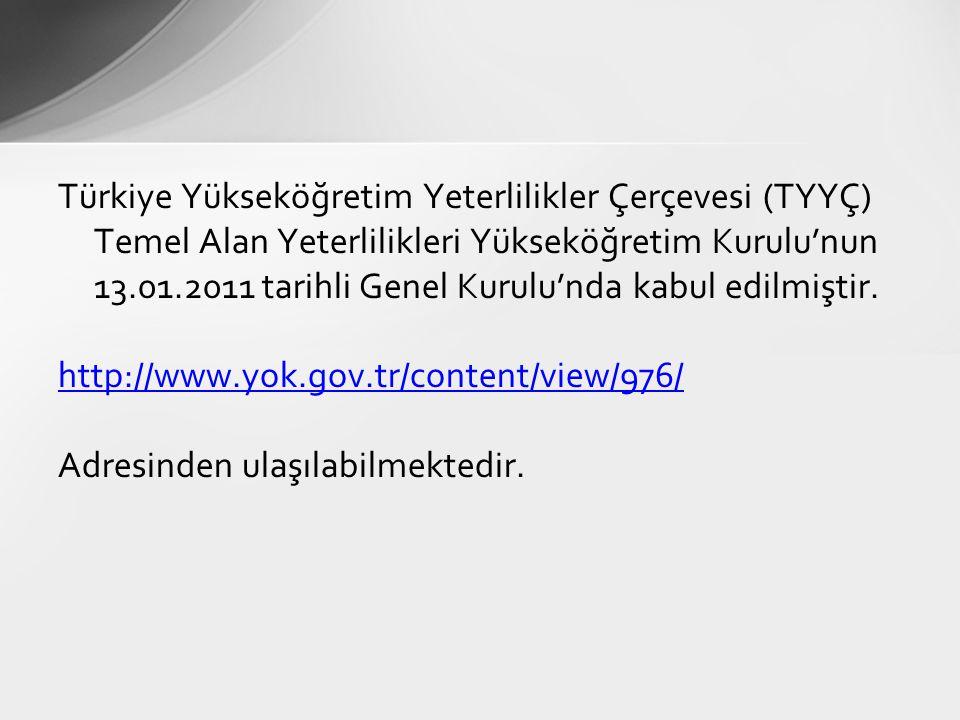 Türkiye Yükseköğretim Yeterlilikler Çerçevesi (TYYÇ) Temel Alan Yeterlilikleri Yükseköğretim Kurulu'nun 13.01.2011 tarihli Genel Kurulu'nda kabul edilmiştir.