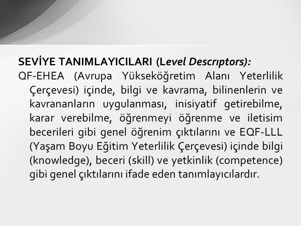 SEVİYE TANIMLAYICILARI (Level Descrıptors):