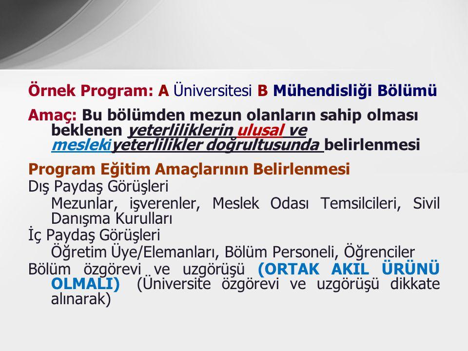 Örnek Program: A Üniversitesi B Mühendisliği Bölümü