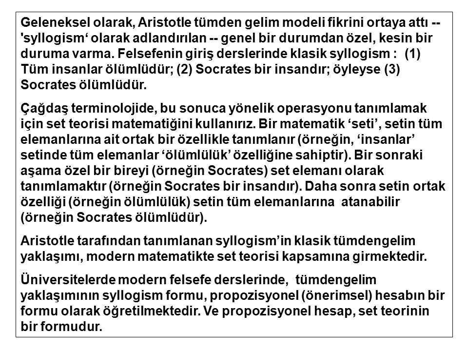 Geleneksel olarak, Aristotle tümden gelim modeli fikrini ortaya attı -- syllogism' olarak adlandırılan -- genel bir durumdan özel, kesin bir duruma varma. Felsefenin giriş derslerinde klasik syllogism : (1) Tüm insanlar ölümlüdür; (2) Socrates bir insandır; öyleyse (3) Socrates ölümlüdür.