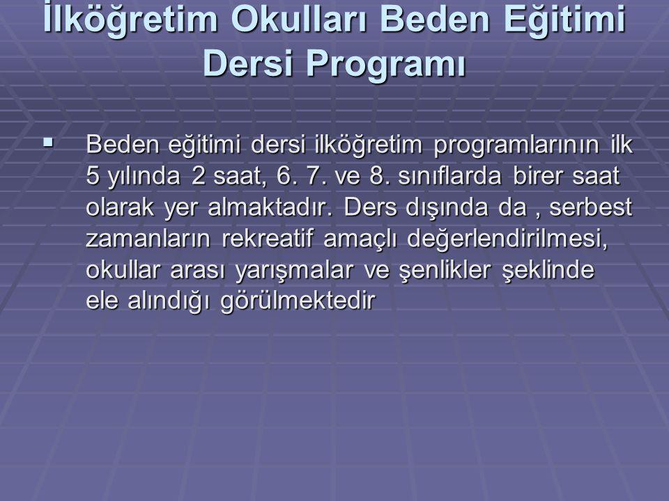 İlköğretim Okulları Beden Eğitimi Dersi Programı