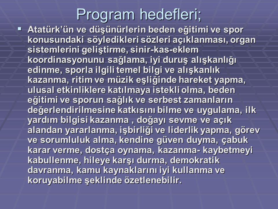 Program hedefleri;