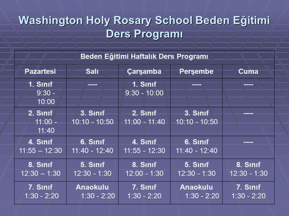 Washington Holy Rosary School Beden Eğitimi Ders Programı