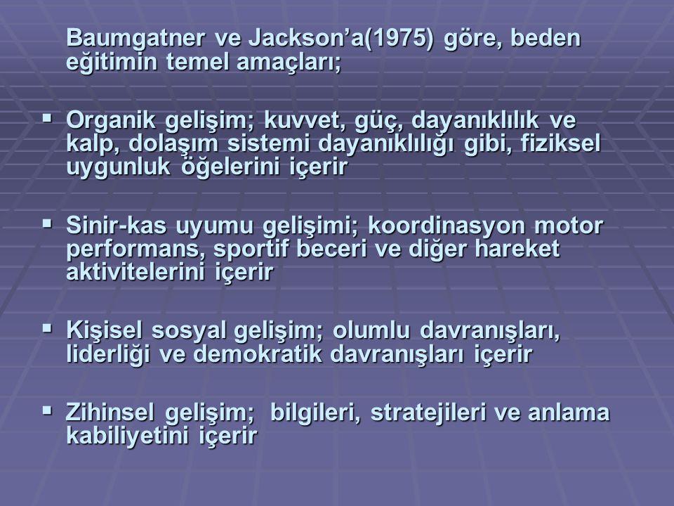 Baumgatner ve Jackson'a(1975) göre, beden eğitimin temel amaçları;
