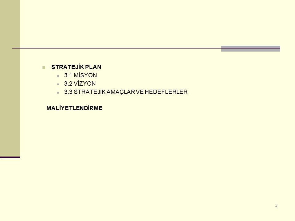 STRATEJİK PLAN 3.1 MİSYON 3.2 VİZYON 3.3 STRATEJİK AMAÇLAR VE HEDEFLERLER MALİYETLENDİRME