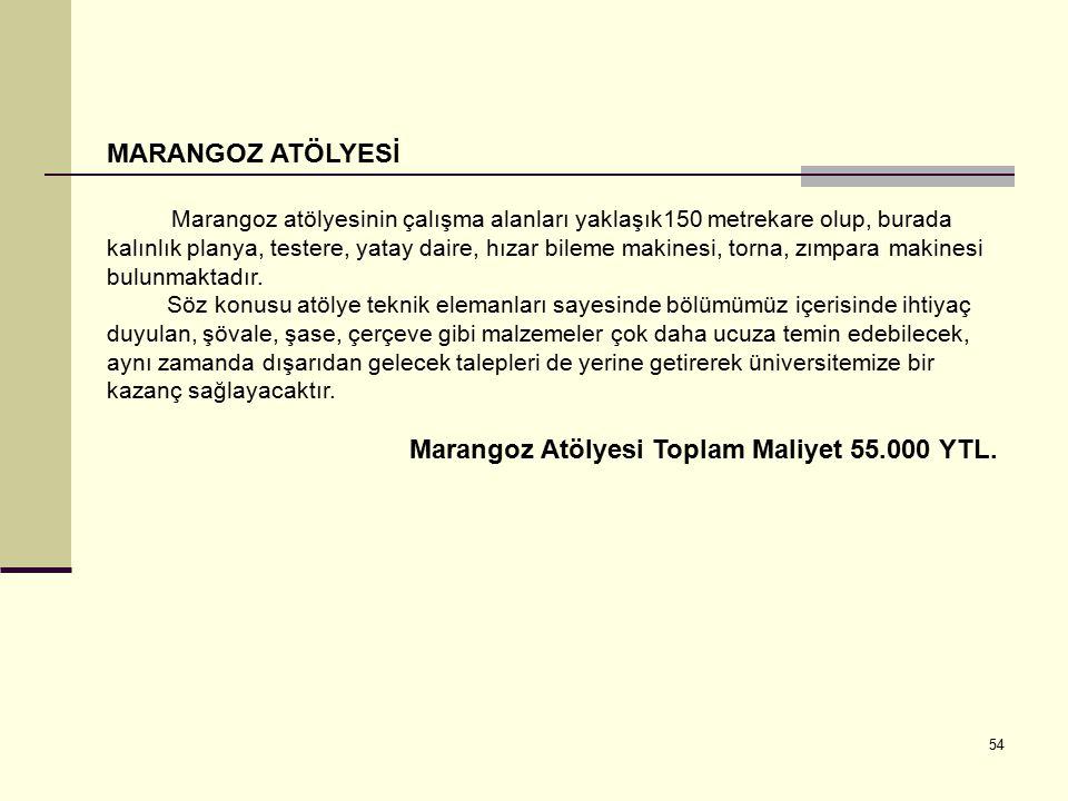 Marangoz Atölyesi Toplam Maliyet 55.000 YTL.