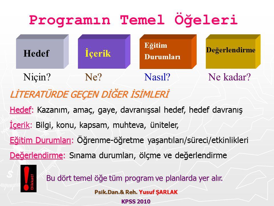 Programın Temel Öğeleri Psik.Dan.& Reh. Yusuf ŞARLAK