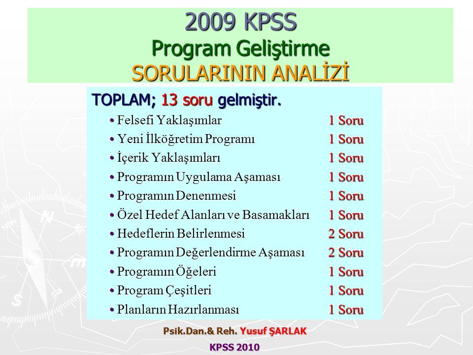2009 KPSS Program Geliştirme SORULARININ ANALİZİ