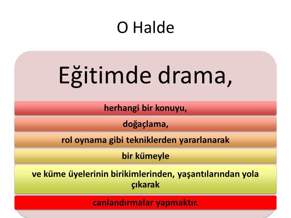 Eğitimde drama, O Halde herhangi bir konuyu, doğaçlama,