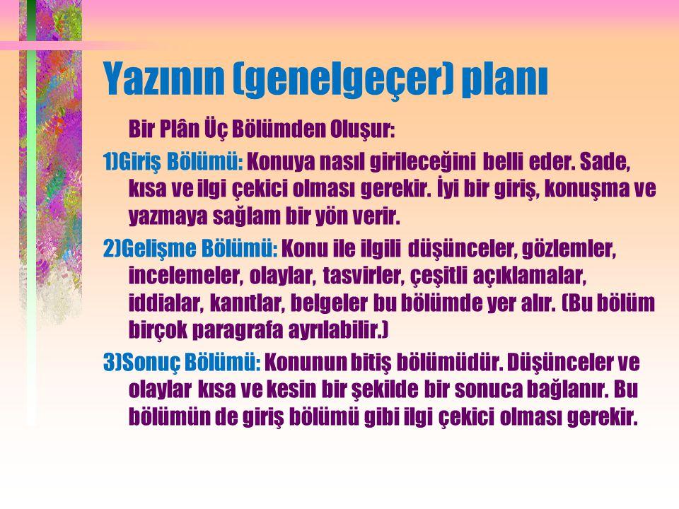 Yazının (genelgeçer) planı