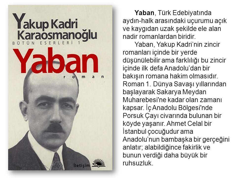 Yaban, Türk Edebiyatında aydın-halk arasındaki uçurumu açık ve kaygıdan uzak şekilde ele alan nadir romanlardan biridir.