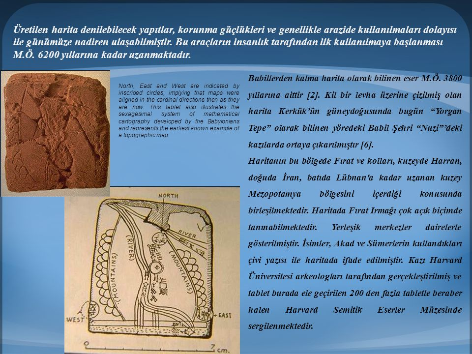 Üretilen harita denilebilecek yapıtlar, korunma güçlükleri ve genellikle arazide kullanılmaları dolayısı ile günümüze nadiren ulaşabilmiştir. Bu araçların insanlık tarafından ilk kullanılmaya başlanması M.Ö. 6200 yıllarına kadar uzanmaktadır.