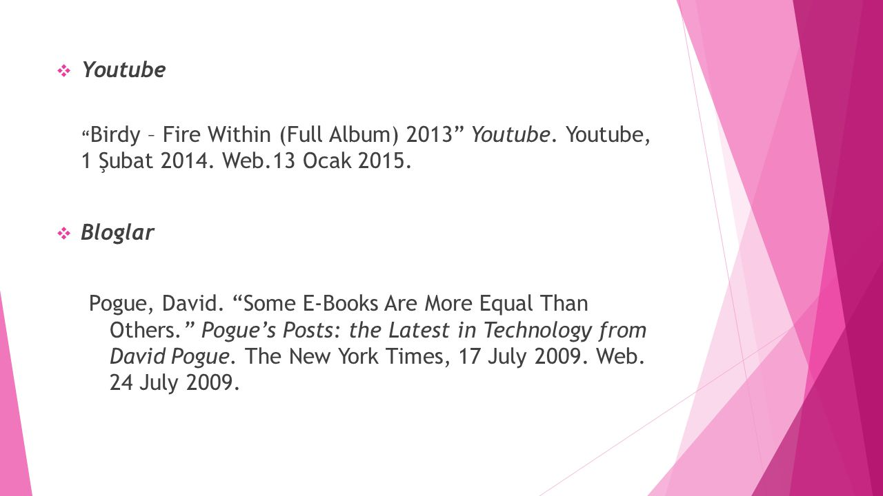 Youtube Birdy – Fire Within (Full Album) 2013 Youtube. Youtube, 1 Şubat 2014. Web.13 Ocak 2015. Bloglar.