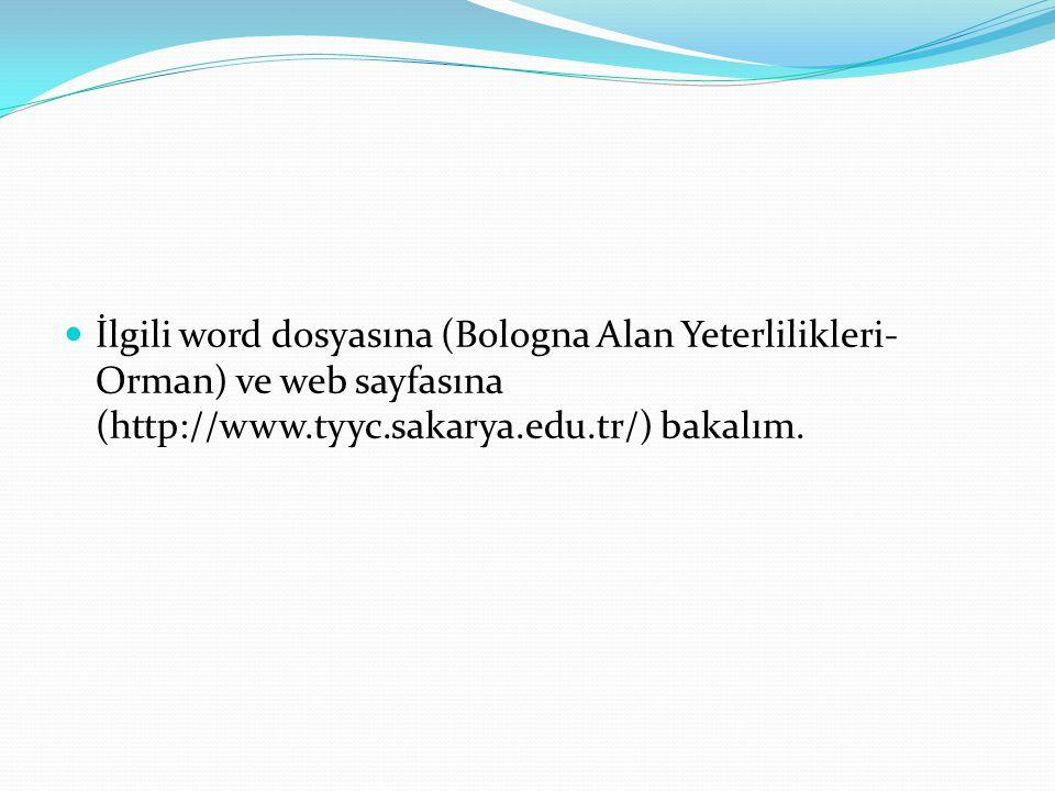 İlgili word dosyasına (Bologna Alan Yeterlilikleri-Orman) ve web sayfasına (http://www.tyyc.sakarya.edu.tr/) bakalım.
