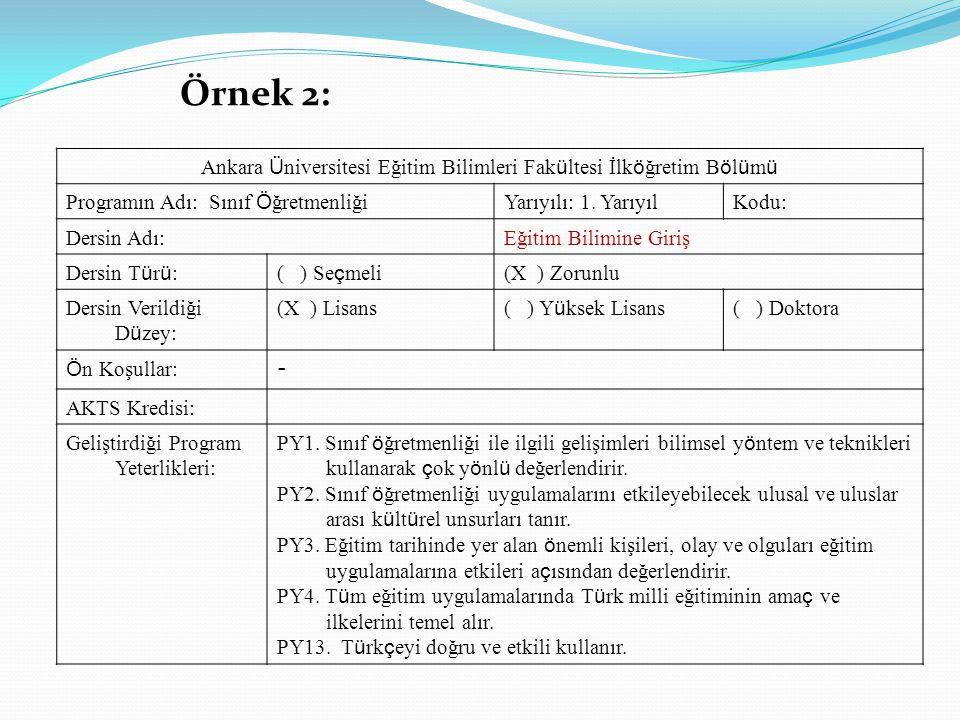 Ankara Üniversitesi Eğitim Bilimleri Fakültesi İlköğretim Bölümü