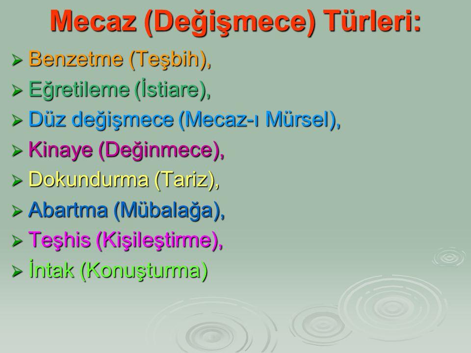 Mecaz (Değişmece) Türleri: