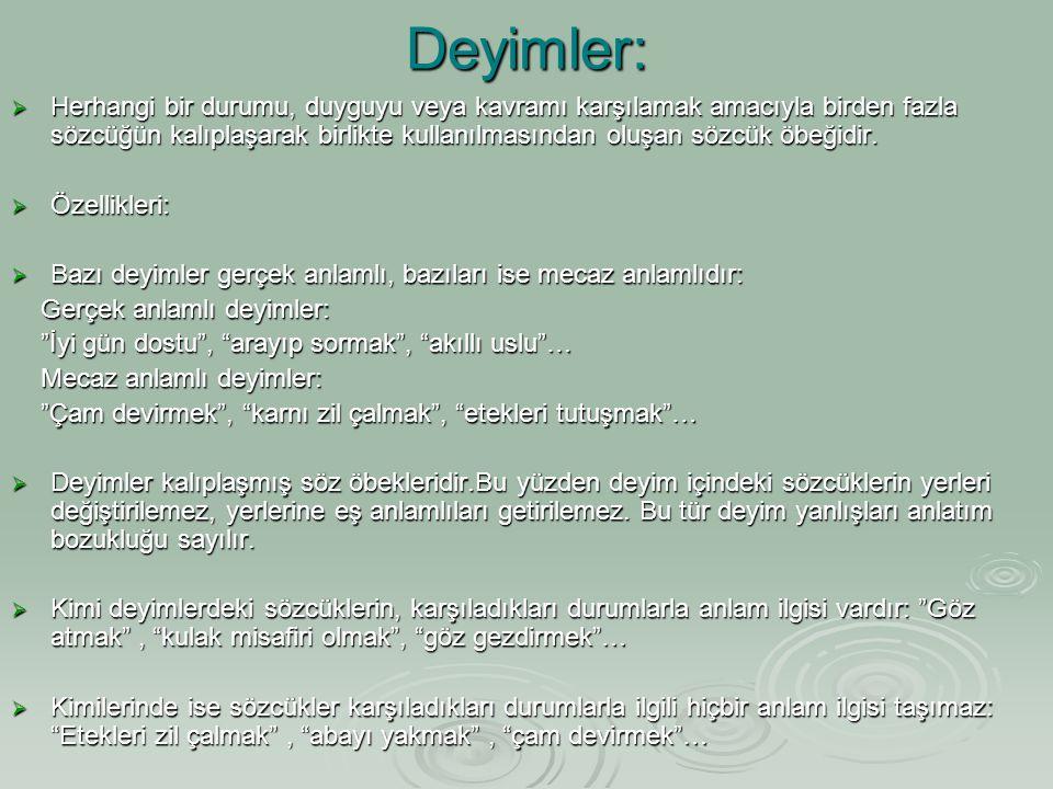 Deyimler: