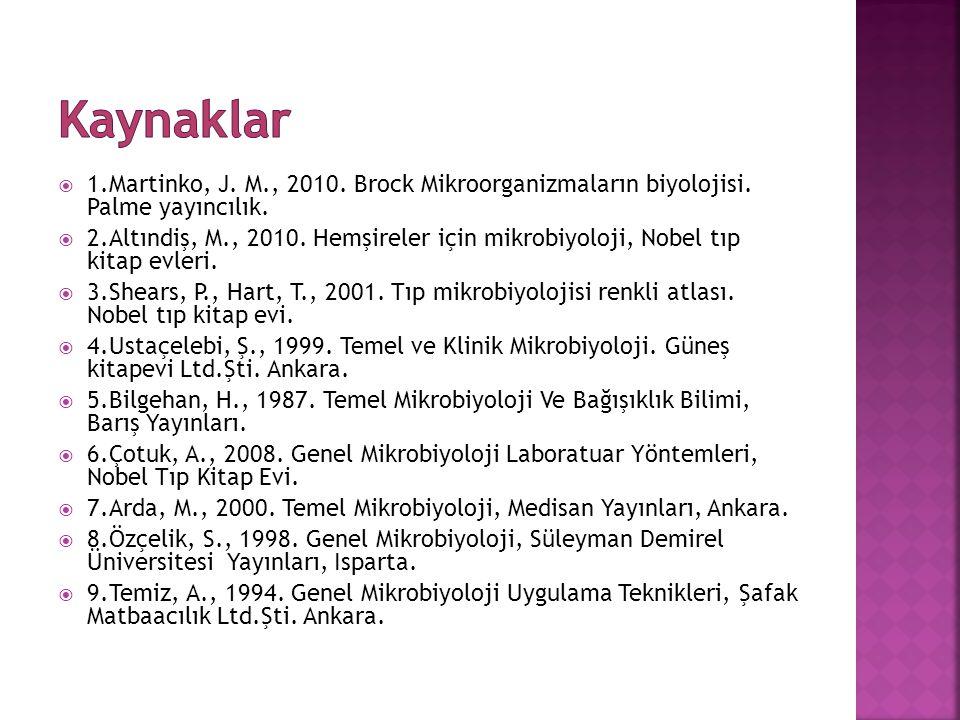 Kaynaklar 1.Martinko, J. M., 2010. Brock Mikroorganizmaların biyolojisi. Palme yayıncılık.