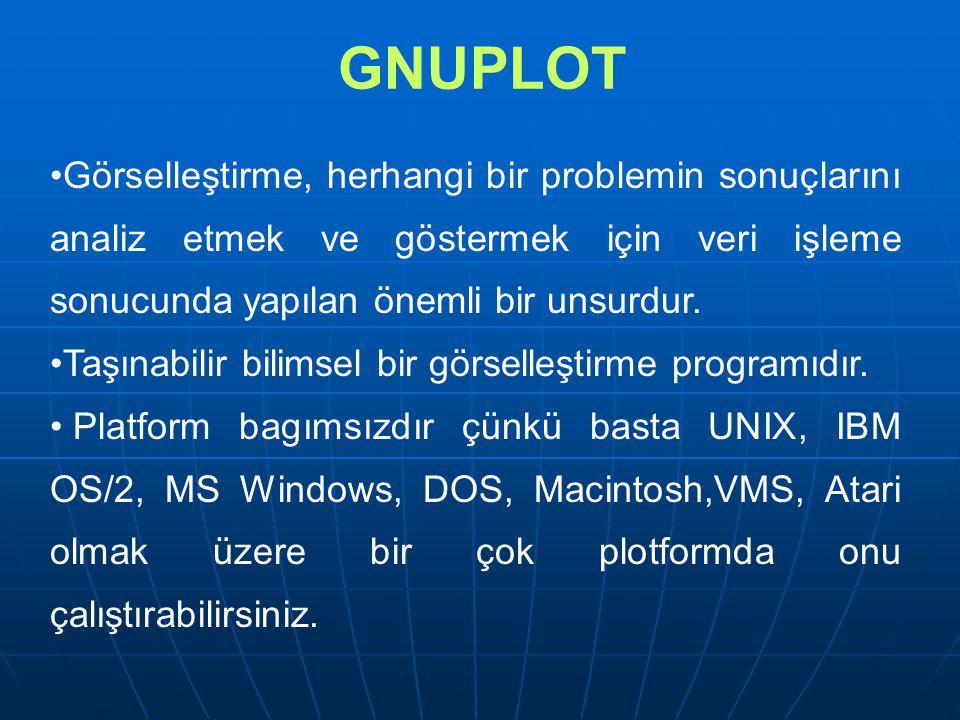 GNUPLOT Görselleştirme, herhangi bir problemin sonuçlarını analiz etmek ve göstermek için veri işleme sonucunda yapılan önemli bir unsurdur.