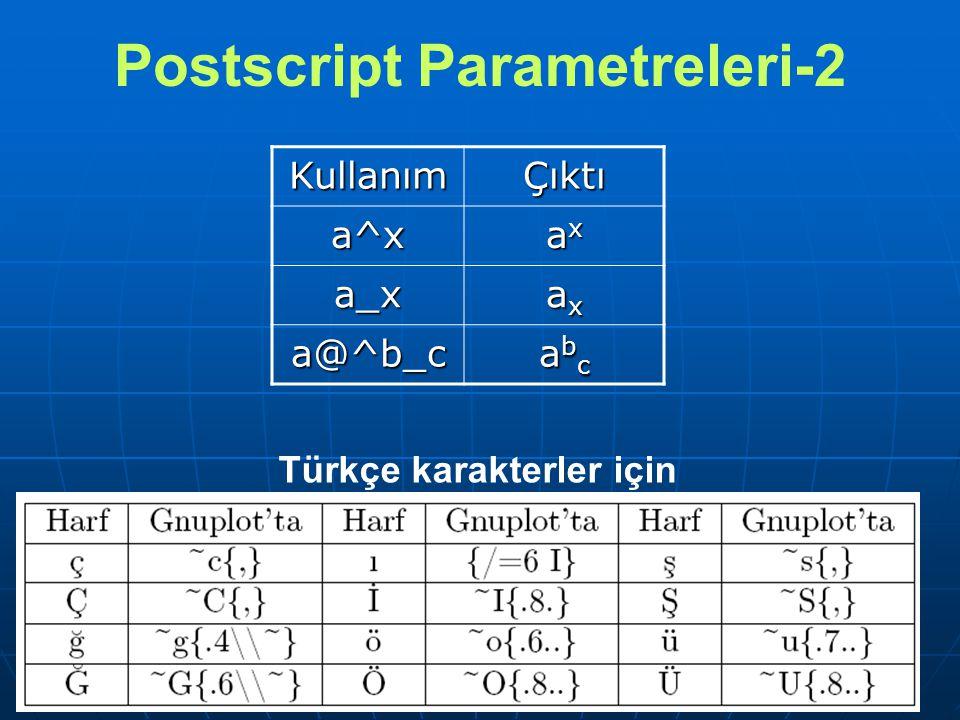 Postscript Parametreleri-2